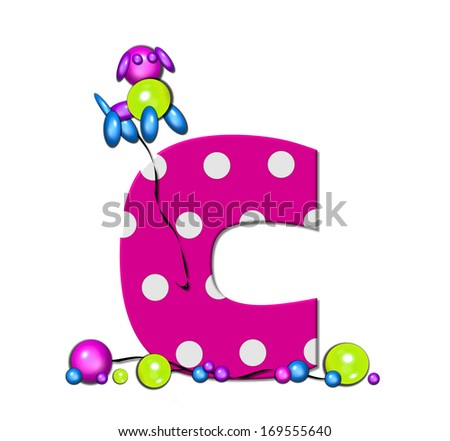 "The letter C, in the alphabet set ""Party Balloons,"" is hot pink with polka dots.  Fun balloons float around letter and around base of letter."