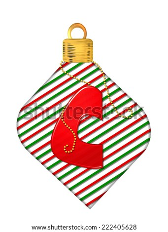 "The letter C, in the alphabet set ""Pinstripe Ornament"", is red.  Letter sits on red and green striped Christmas ornament. - stock photo"