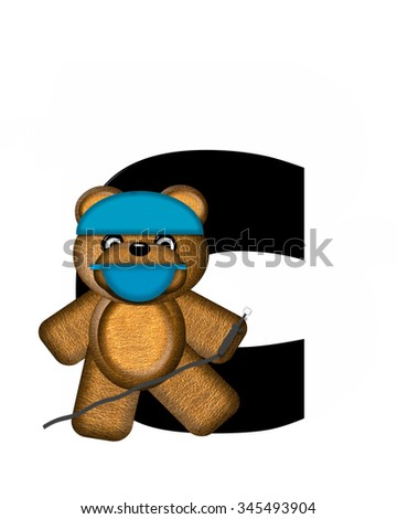"The letter C, in the alphabet set ""Teddy Dental Checkup,"" is black.  Teddy bear wearing a dental mask and hat represents dentist holding various dental tools.   - stock photo"