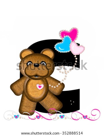 """The letter C, in the alphabet set """"Teddy Valentine's Cutie,"""" is black.  Brown teddy bear holds heart shaped balloons in pink and blue.  String of pearls serve as string. - stock photo"""