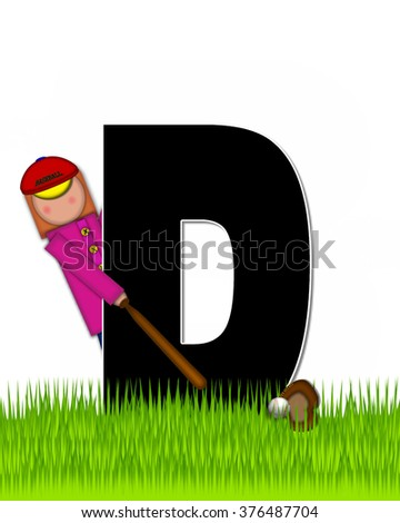 """The letter D, in the alphabet set """"Children Baseball"""" is black and trimmed with white.  Child is playing baseball in a field of green grass.  Equipment includes bat, ball and glove. - stock photo"""