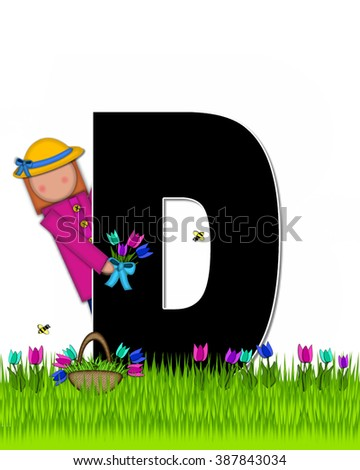 "The letter D, in the alphabet set ""Children Tulip Patch"" is black outlined with white.  Children hold tulip bouquet and stand in colorful tulip patch. - stock photo"
