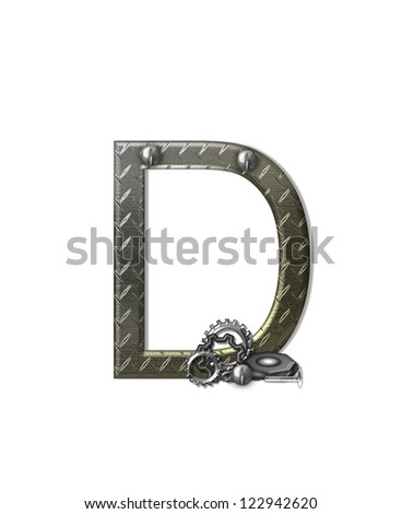 """The letter D, in the alphabet set """"Metal Shop"""", is a chrome colored letter with etched texture.  Letter is decorated with nuts, bolts and screws.  Top of letter has rivets. - stock photo"""