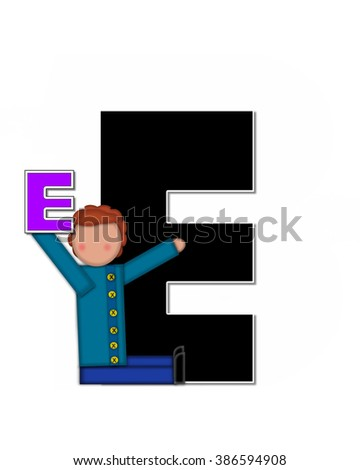 "The letter E, in the alphabet set ""Children Playing ABCs"" is black outlined with white.  Children hold up colorful, matching, alphabet letter. - stock photo"