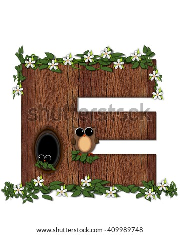 "The letter E, in the alphabet set ""Log Home"" is filled with wood texture.  Flower bloom on vines hanging on letter.  One owl hides in knothole and the other outside the stump home.  - stock photo"