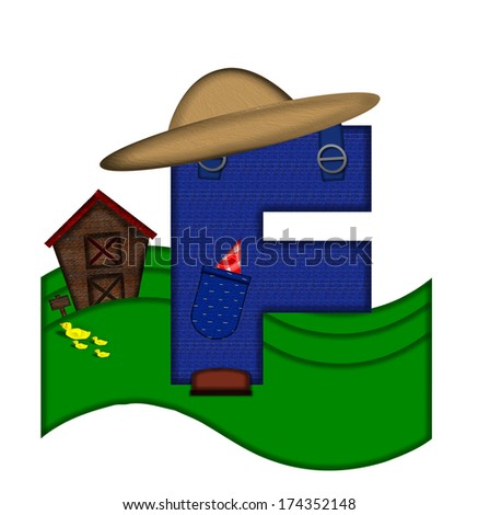 """The letter F, in the alphabet set """"Down on the Farm,"""" is dressed in denim overalls complete with pockets.  Letter sits on farm scene with rolling hills, barn, and ducks. - stock photo"""