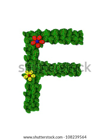 The letter F, in the alphabet set Landscaping, is covered with 3D leaves.  Red and yellow flowers bloom in cluster of leaves.  Background is white.