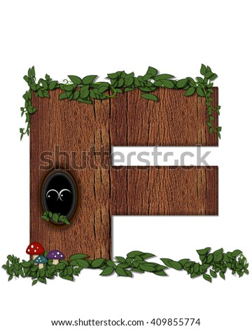"The letter F, in the alphabet set ""Log"" is filled with wood texture.  Vines and colorful mushrooms grow around letter.  Some letters have knot holes with peeking eyes. - stock photo"