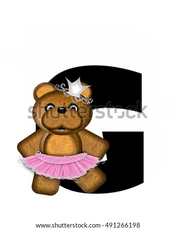 "The letter G, in the alphabet set ""Ballerina Princess"" is bright black.  Letter is decorated brown bear wearing a pink tutu and jeweled crown."