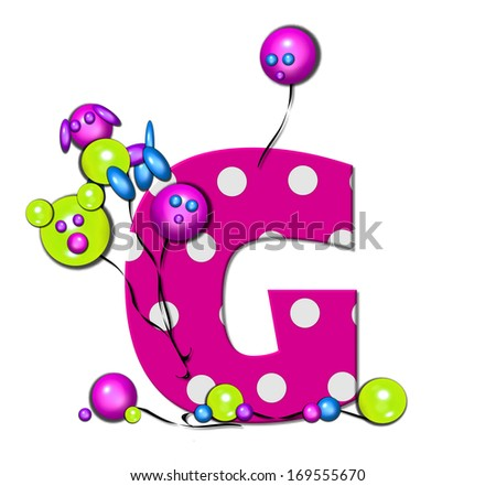 "The letter G, in the alphabet set ""Party Balloons,"" is hot pink with polka dots.  Fun balloons float around letter and around base of letter."