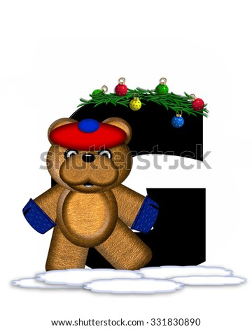 """The letter G, in the alphabet set """"Teddy Christmas Boughs,"""" is black and sits on pile of snow.  Teddy Bear wearing cap and mittens, decorates letter with Christmas boughs and ornaments. - stock photo"""