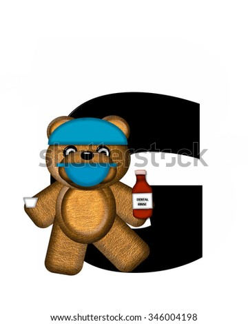 "The letter G, in the alphabet set ""Teddy Dental Checkup,"" is black.  Teddy bear wearing a dental mask and hat represents dentist holding various dental tools.   - stock photo"