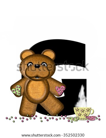 """The letter G, in the alphabet set """"Teddy Tea Time,"""" is black.  Teddy bear enjoys a cup of hot tea with heart shaped and frosted cookies.  Candy sprinkles cover floor. - stock photo"""