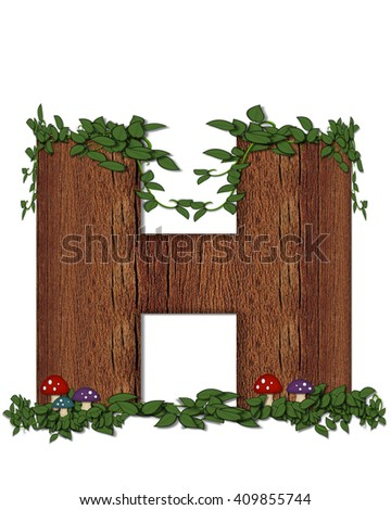 """The letter H, in the alphabet set """"Log"""" is filled with wood texture.  Vines and colorful mushrooms grow around letter.  Some letters have knot holes with peeking eyes. - stock photo"""