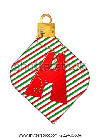 "The letter H, in the alphabet set ""Pinstripe Ornament"", is red.  Letter sits on red and green striped Christmas ornament. - stock photo"