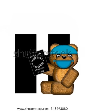 "The letter H, in the alphabet set ""Teddy Dental Checkup,"" is black.  Teddy bear wearing a dental mask and hat represents dentist holding various dental tools.   - stock photo"