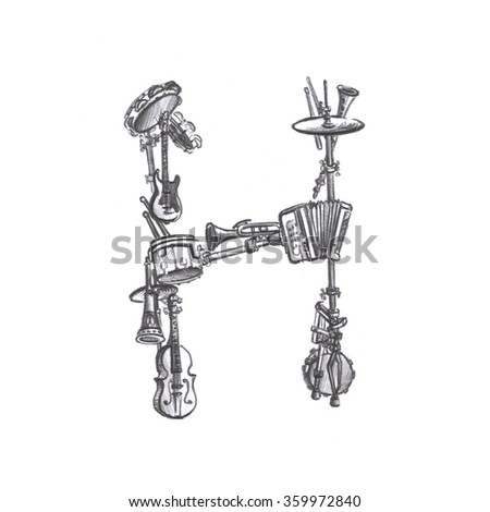 The Letter H Made Of Musical Instruments Pencil Drawing