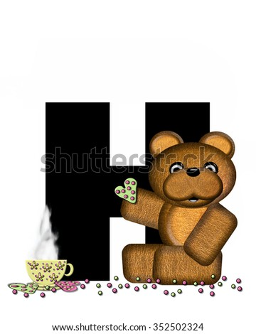 """The letter HH, in the alphabet set """"Teddy Tea Time,"""" is black.  Teddy bear enjoys a cup of hot tea with heart shaped and frosted cookies.  Candy sprinkles cover floor. - stock photo"""