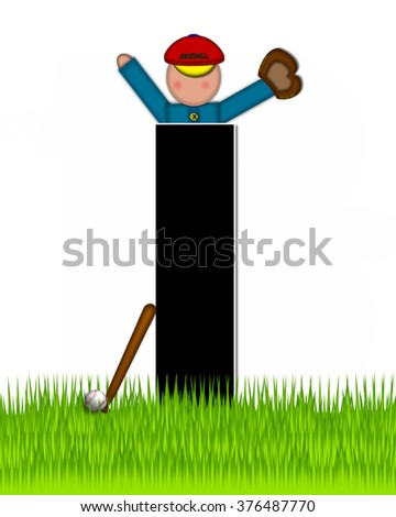 """The letter I, in the alphabet set """"Children Baseball"""" is black and trimmed with white.  Child is playing baseball in a field of green grass.  Equipment includes bat, ball and glove. - stock photo"""