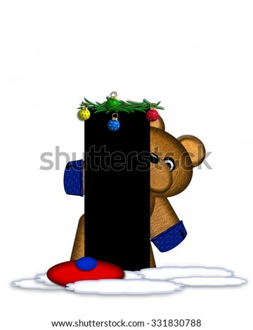 """The letter I, in the alphabet set """"Teddy Christmas Boughs,"""" is black and sits on pile of snow.  Teddy Bear wearing cap and mittens, decorates letter with Christmas boughs and ornaments. - stock photo"""