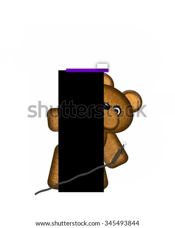 "The letter I, in the alphabet set ""Teddy Dental Checkup,"" is black.  Teddy bear represents dentist and he is holding various dental tools.   - stock photo"