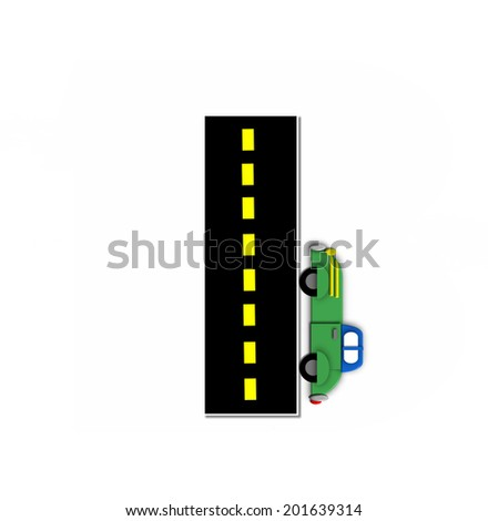 "The letter I, in the alphabet set ""Transportation by Road"", is black with yellow dividing line representing a black top road.  Colorful, motorized vehicle navigates outside of letter. - stock photo"