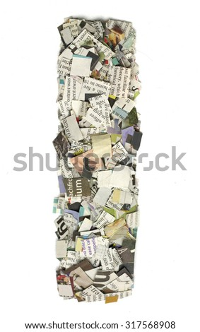 The letter  I  made from newspaper confetti - stock photo