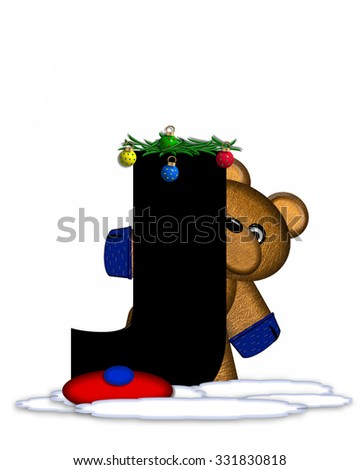 """The letter J, in the alphabet set """"Teddy Christmas Boughs,"""" is black and sits on pile of snow.  Teddy Bear wearing cap and mittens, decorates letter with Christmas boughs and ornaments. - stock photo"""