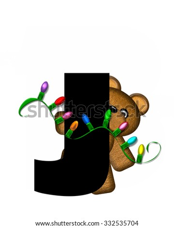 """The letter J, in the alphabet set """"Teddy Christmas Lights,"""" is black. Teddy Bear holds a string of Christmas lights and decorates letter. - stock photo"""