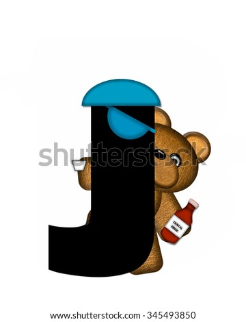 "The letter J, in the alphabet set ""Teddy Dental Checkup,"" is black.  Teddy bear represents dentist.  His cap and mask hangs on letter and he is holding dental rinse. - stock photo"