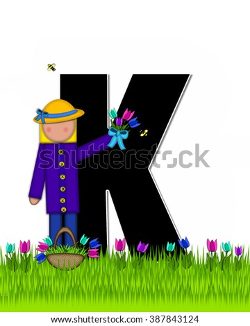 "The letter K, in the alphabet set ""Children Tulip Patch"" is black outlined with white.  Children hold tulip bouquet and stand in colorful tulip patch. - stock photo"