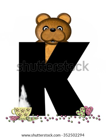"""The letter K, in the alphabet set """"Teddy Tea Time,"""" is black.  Teddy bear enjoys a cup of hot tea with heart shaped and frosted cookies.  Candy sprinkles cover floor. - stock photo"""