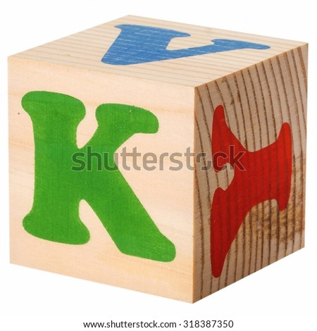 The letter K. wooden blocks with letters of the English alphabet isolated on a white background - stock photo