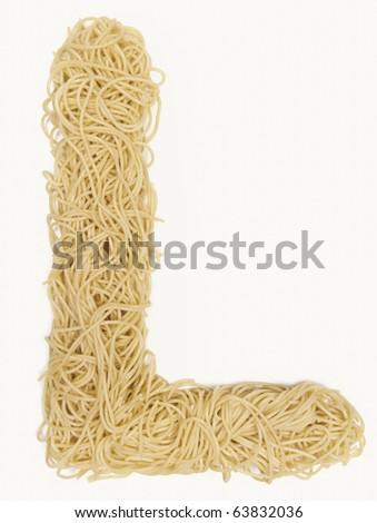 """the letter """"L"""" in spaghetti - stock photo"""