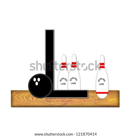 "The letter L, in the alphabet set ""Bowling"", is black with white border.  Bowling ball and pins sit on wooden lane with letter."