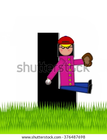 """The letter L, in the alphabet set """"Children Baseball"""" is black and trimmed with white.  Child is playing baseball in a field of green grass.  Equipment includes bat, ball and glove. - stock photo"""