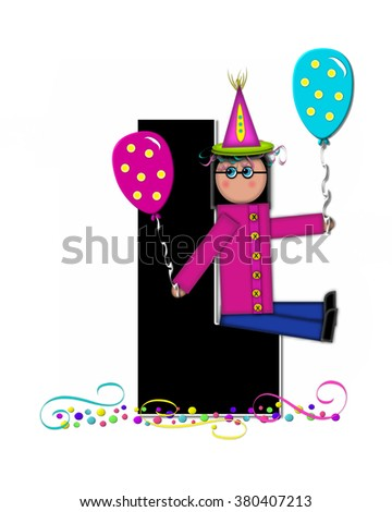 "The letter L, in the alphabet set ""Children Birthday Celebration"" is black and trimmed with white.  Child is wearing party hat and surrounded by balloons and confetti."
