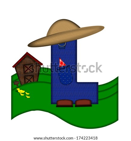 """The letter L, in the alphabet set """"Down on the Farm,"""" is dressed in denim overalls complete with pockets.  Letter sits on farm scene with rolling hills, barn, and ducks. - stock photo"""