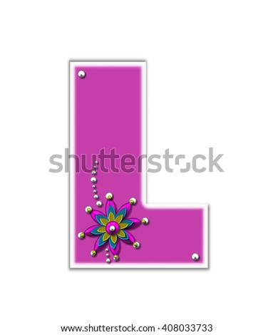 "The letter L, in the alphabet set ""Metallica,"" is pink with white outline. Metalic beads and flower decorate letter."