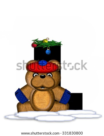 """The letter L, in the alphabet set """"Teddy Christmas Boughs,"""" is black and sits on pile of snow.  Teddy Bear wearing cap and mittens, decorates letter with Christmas boughs and ornaments. - stock photo"""