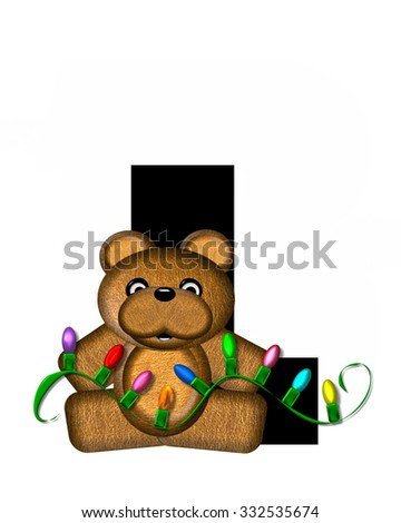 """The letter L, in the alphabet set """"Teddy Christmas Lights,"""" is black. Teddy Bear holds a string of Christmas lights and decorates letter. - stock photo"""