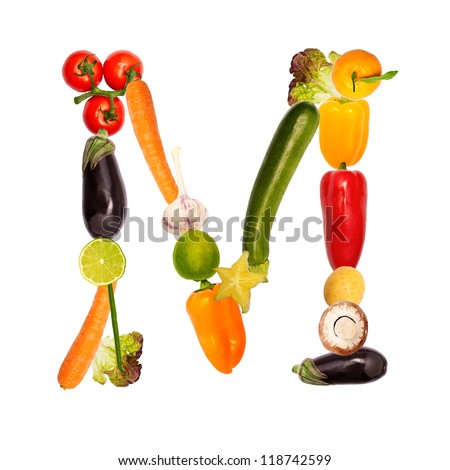 The letter m, composite with various fruits and vegetables, complete font available