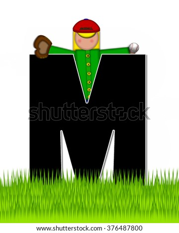 """The letter M, in the alphabet set """"Children Baseball"""" is black and trimmed with white.  Child is playing baseball in a field of green grass.  Equipment includes bat, ball and glove. - stock photo"""
