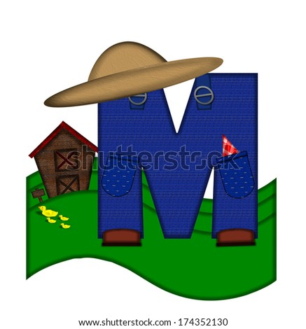 """The letter M, in the alphabet set """"Down on the Farm,"""" is dressed in denim overalls complete with pockets.  Letter sits on farm scene with rolling hills, barn, and ducks. - stock photo"""