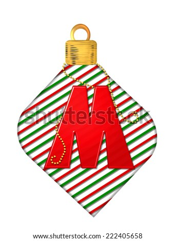 "The letter M, in the alphabet set ""Pinstripe Ornament"", is red.  Letter sits on red and green striped Christmas ornament. - stock photo"