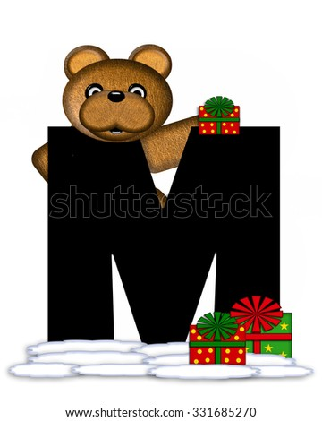 """The letter M, in the alphabet set """"Teddy Christmas,"""" is black and sits on pile of snow.  Teddy Bear and presents decorate each letter. - stock photo"""