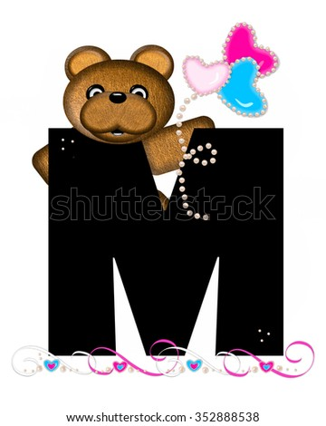 """The letter M, in the alphabet set """"Teddy Valentine's Cutie,"""" is black.  Brown teddy bear holds heart shaped balloons in pink and blue.  String of pearls serve as string. - stock photo"""