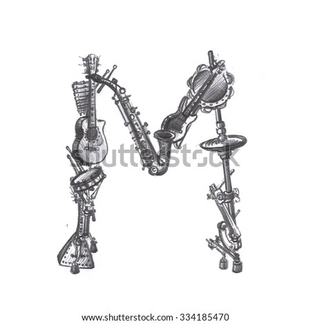 The letter m made of musical instruments pencil drawing