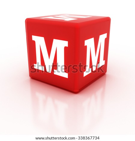 The letter M on the cube. Multicolored alphabet on cubes.