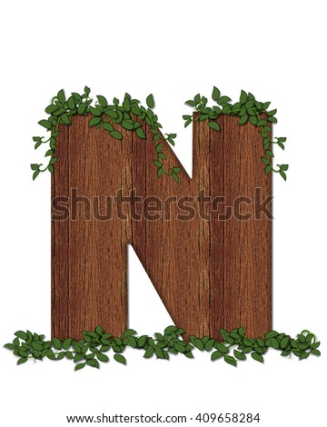 "The letter N, in the alphabet set ""Deep Woods"" is filled with wood texture and has vines growing all over it. It coordinates with the alphabet set Deep Woods Owl."